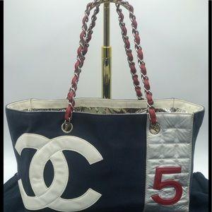 Chanel No 5 Dual Chain Shopper Tote CC Logo Bag